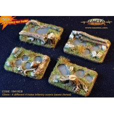 Four different 4 holes Infantry scenic bases (forest)