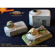 15mm Vf58c Tobruk bunkers x 3 (with optional tank turrets FT17 + R35 APX)